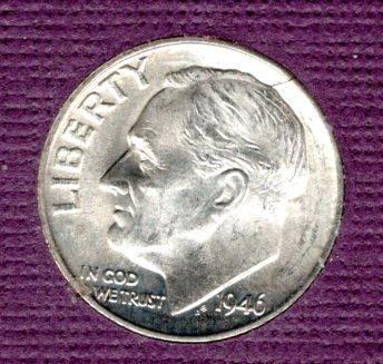 1946d BU Roosevelt Dime -#5