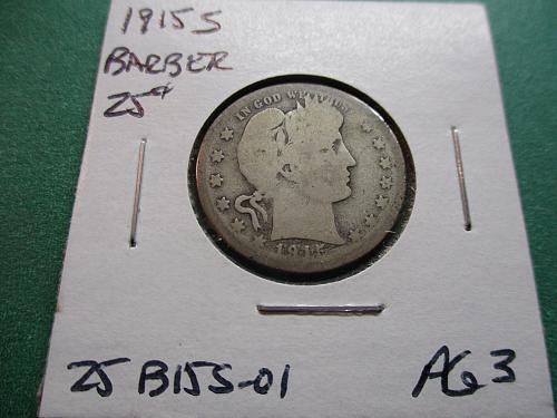 1915-S  AG3 Barber Quarter.  Item: 25 B15S-01.