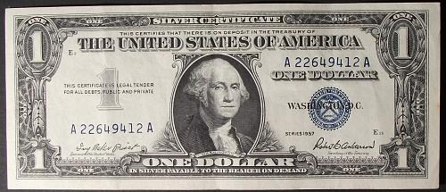 1957 Series $1 Silver Certificate FR# 1619 XF