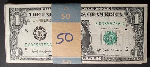 """Fifty (50) 1963B """"Barr"""" $1 FRN's #1"""