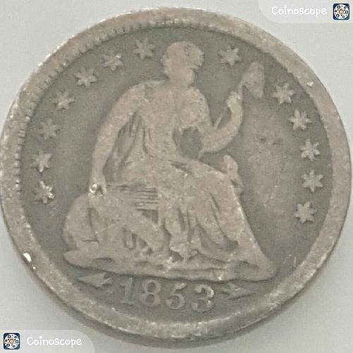 1853 P Seated Liberty Half Dimes