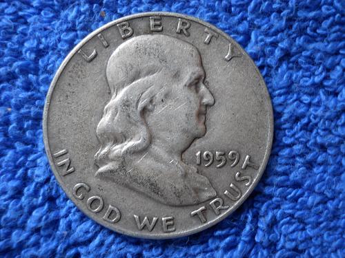 1959-D Ben Franklin Half Dollar.  Extremely Fine Grade.  Original Surfaces.