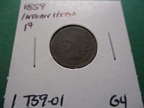 1859  G4 Indian Head Cent.  Item: 1 I59-01.