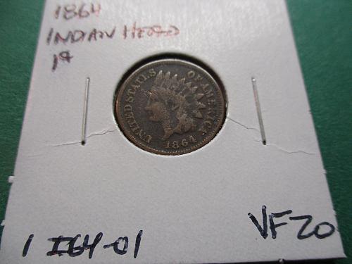 1864  VF20 Indian Head Cent.  Item: 1 I64-01.