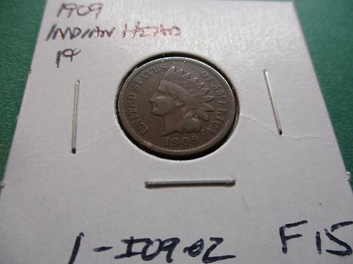 1909  F15 Indian Head Cent.  Item: 1 I09-02.