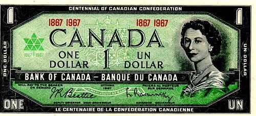 1967 CANADA $1.00 COMMEMORATIVE ISSUE BANKNOTE