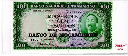 MARCH 27, 1961 MOZAMBIQUE ONE HUNDRED ESCUDOS BANKNOTE