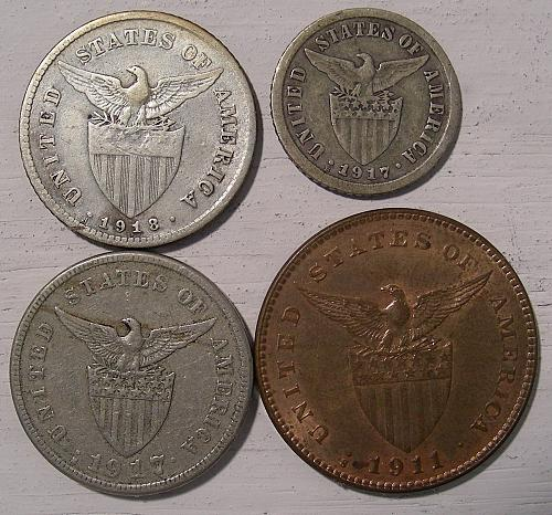 Phillipines under US rule, four coin lot