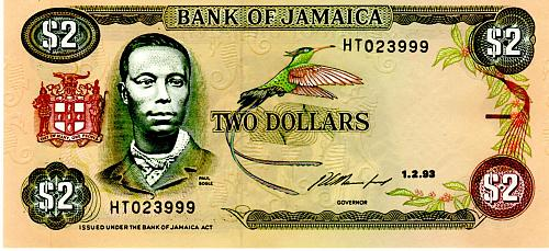 1993 JAMAICA TWO DOLLAR BANKNOTE