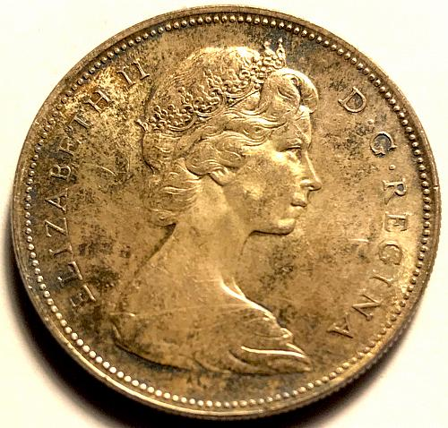 1966 Canadian 1 Dollar coin 80% Silver, (Large Bead) Uncirculated AU-58  V1P2R5