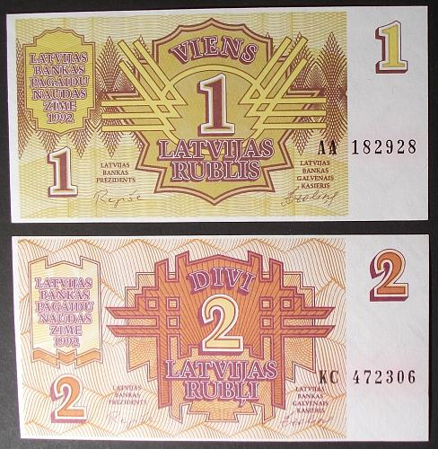 Latvia P35-6 Rublis, 2 Rubli UNC64