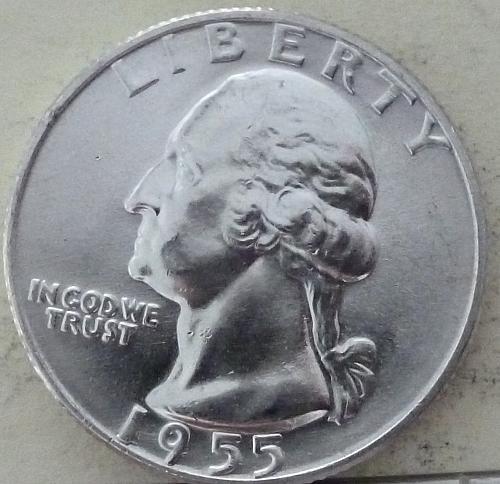 1955-D GEM BRILLIANT UNCIRCULATED Washington Quarter BU ( S-064)