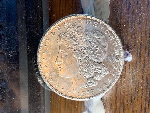 1878 S  morgan dollar  raw but bu looking
