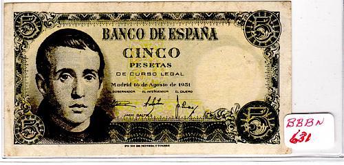 AUGUST 16, 1951 SPAIN FIVE PESETAS  BANKNOTE