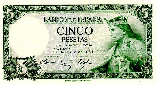 JULY 22, 1954  SPAIN FIVE PESETAS BANKNOTE