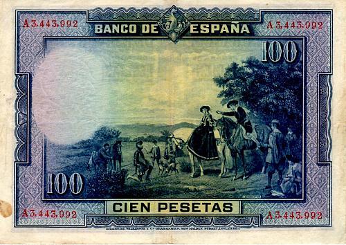 AUGUST 15, 1928 SPAIN ONE HUNDRED PESETAS BANKNOTE