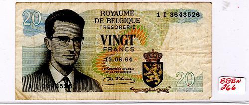 1964 BELGIUM 20 FRANCS BANKNOTE