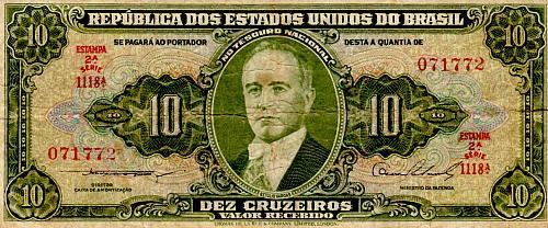 ND 1953 BRAZIL TEN CRUZEIROS BANKNOTE