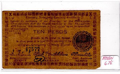 1944 PHILIPPINES NEGROS TEN PESOS EMERGENCY BANKNOTE