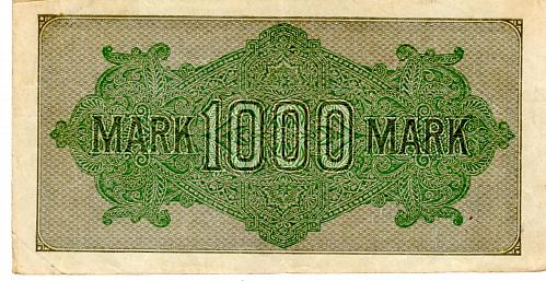 SEPT.15, 1922 GERMAN REICHSBANKNOTE ONE THOUSAND MARK BANKNOTE