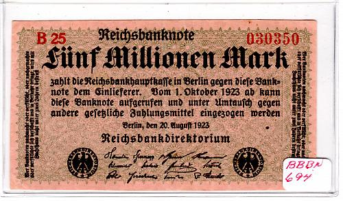AUG. 20, 1923 GERMAN REICHSBANKNOTE FIVE MILLIONEN MARK BANKNOTE