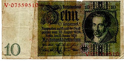 JAN. 22, 1929 GERMAN REICHSBANKNOTE TEN REICHS MARK BANKNOTE