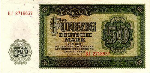 1948 GERMANY DEMOCRATIC REPUBLIC FIFTY DEUTSCHE MARK BANKNOTE