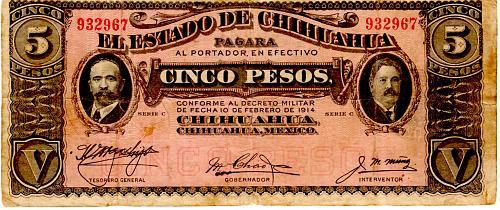 1914 EL ESTADO de CHIHUAHIA MEXICO FIVE PESOS BANKNOTE