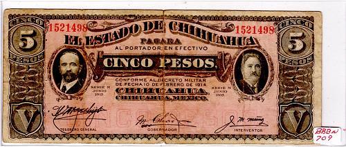 1915 EL ESTADO DE CHIHUAHIA MEXICO FIVE PESOS BANKNOTE