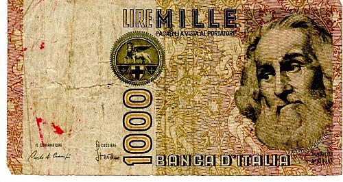 1982 ITALY ONE THOUSAND LIRA BANKNOTE