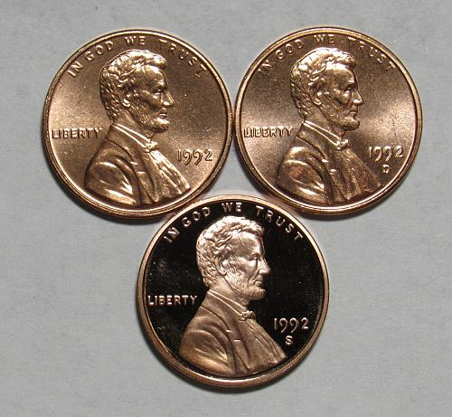 1992 P,D&S Lincoln Memorial Cents in Red BU and Proof condition