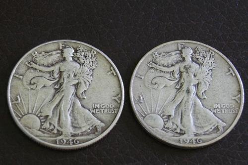 1946 Walking Liberty halves-  P and S