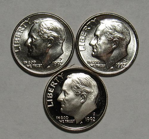 1992 P,D&S Roosevelt Dimes in BU and Proof condition