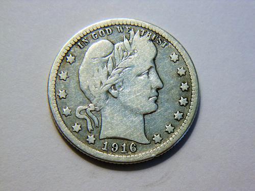 1916-D Silver Barber Quarter