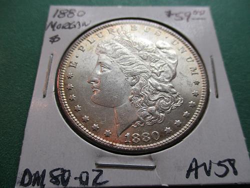 1880  AU58 Morgan Dollar.  item: DM 80-02.