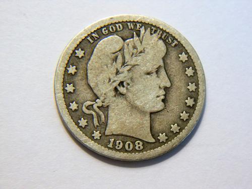 1908-D Silver Barber Quarter
