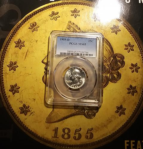 PCGS MS 65 1955-D Washington 25c