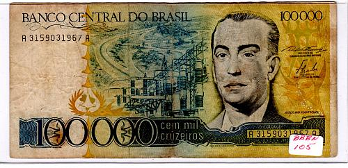 1985 BRAZIL ONE HUNDRED THOUSAND CRUZEIROS BANK NOTE