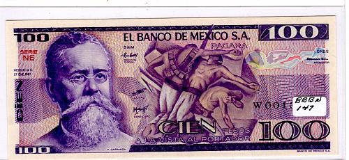 1981 MEXICO 100 PESOS BANK NOTE