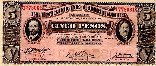 1914  EL ESTADO de CHIHUAHUA UN FIVE PESO  MEXICO  BANKNOTE