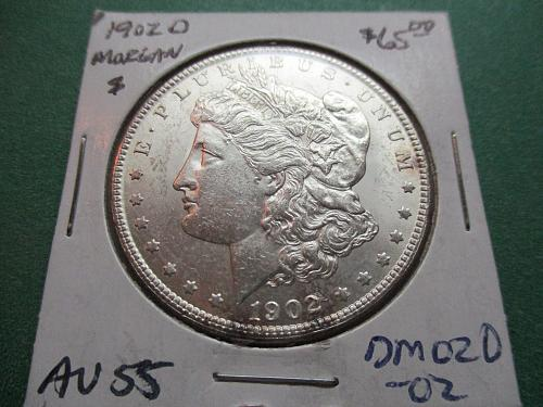 1902-O  AU55 Morgan Dollar.  Itiem: DM 02O-02.