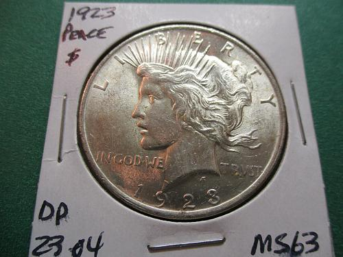 1923  MS 63 Peace Dollar.  item: DP 23-04.