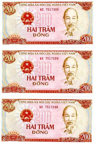 1987 VIET NAM TWO HUNDRED DONG (3) CONSECUTIVE BANK NOTES
