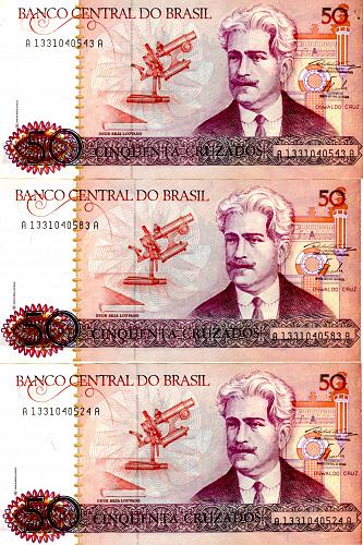 1986 BRAZIL FIFTY CRUZADOS  (3 NOTE LOT)