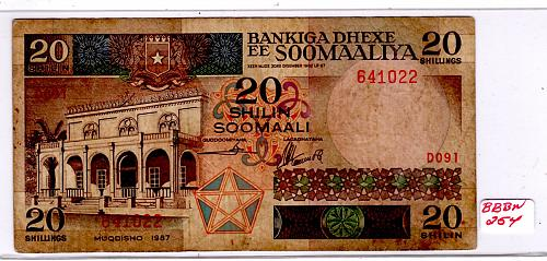 1983 CENTRAL BANK OF SOMALIA 20 SHILIN = 20 SHILLINGS
