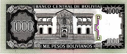 1982 BOLIVIA 1000 PESOS BOLIVIANOS BANKNOTE