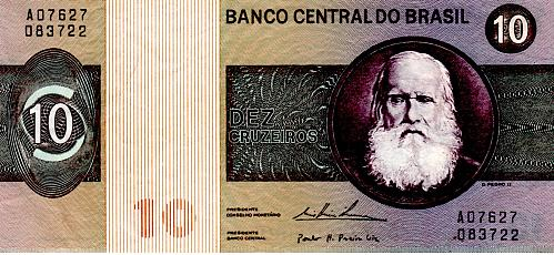 1974 BRAZIL 10 CRUZEIROS BANKNOTE