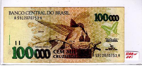 1991 - 92 BRAZIL 100,000 CRUZEIROS BANKNOTE