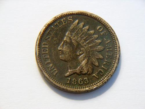 1863 Copper Nickel Indian Head Penny