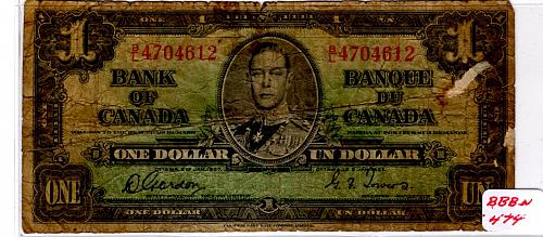 JANUARY 2, 1937 CANADA ONE DOLLAR BANKNOTE
